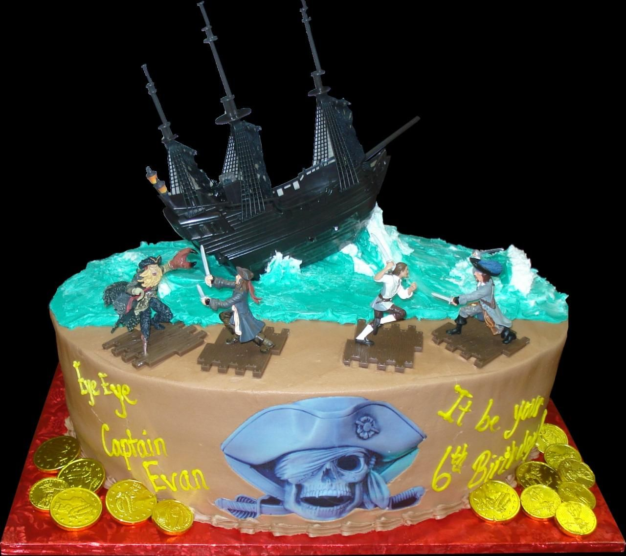 Pirate Ship Birthday Cake Brown buttercream iced oval cake