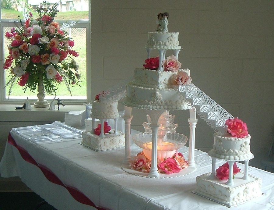 Stairway Wedding Cakes Large With Stairs Fountain