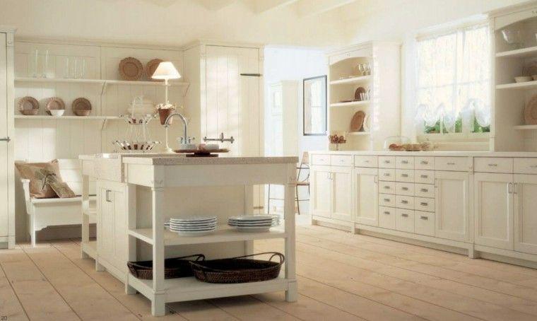isla de madera blanca en medio de la cocina clásica moderna ...