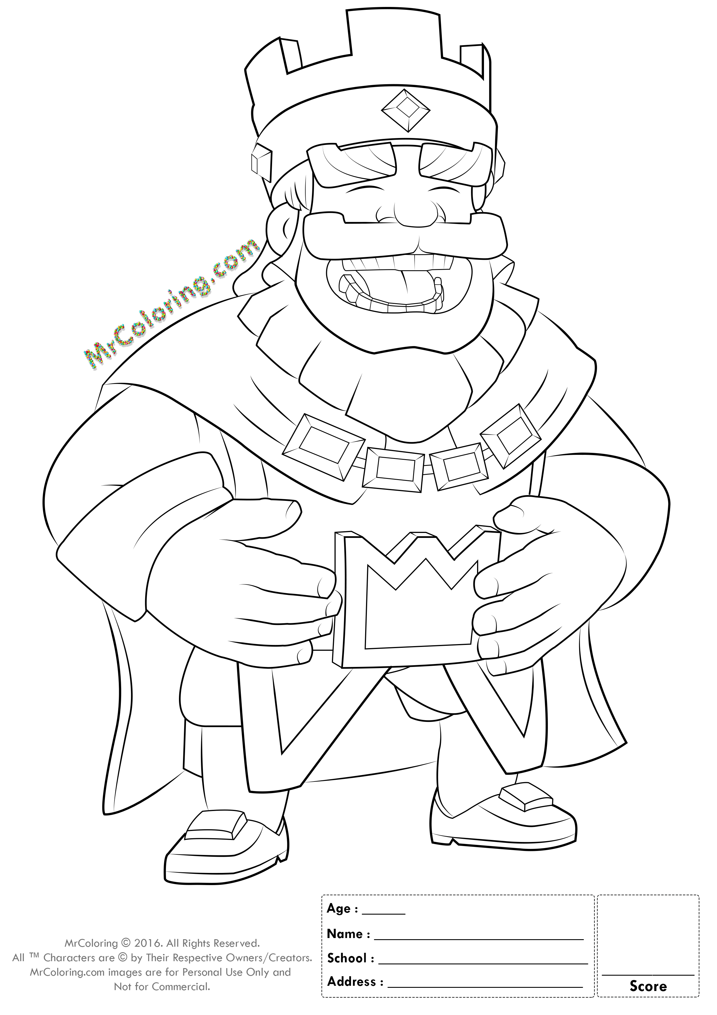 Printable Blue King Clash Royale Online Coloring Pages - 1 | Free ...