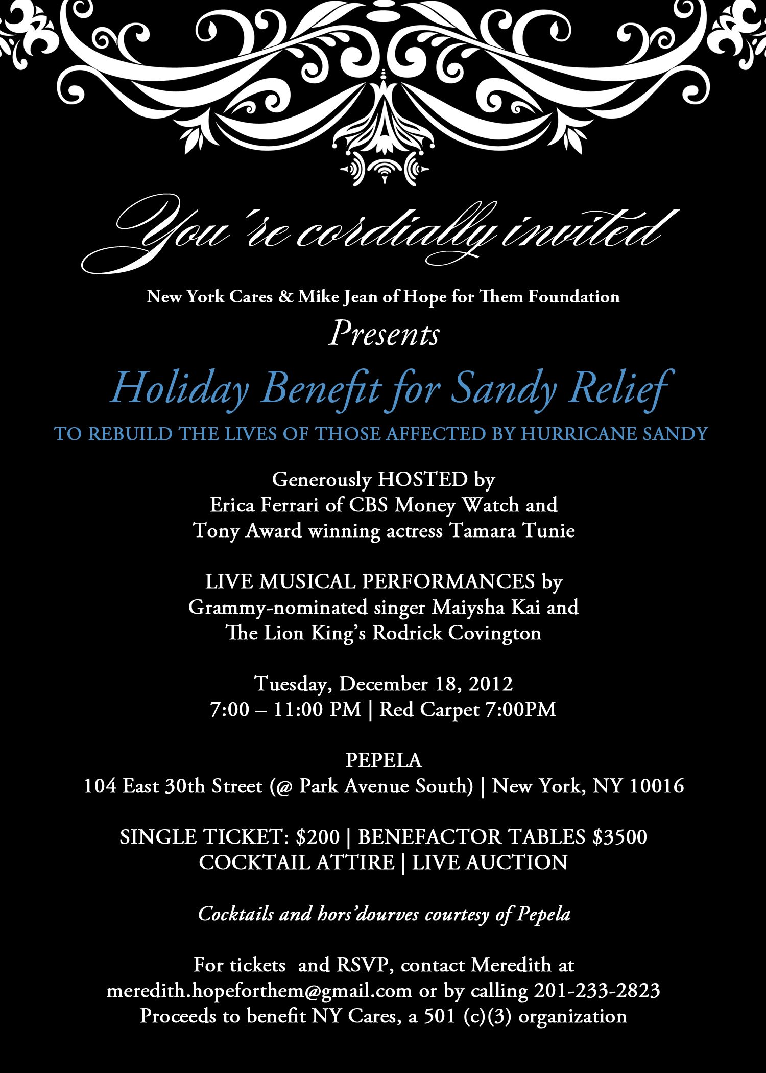 Hope For Them Foundation Partners with New York Cares to Host Holiday Fundraiser, In Efforts to Rebuild The Lives of Those Affected by Hurricane Sandy. Tues Dec 18, 7PM at Pepela  http://hopeforthemholidaysandyrelief.charityhappenings.org/