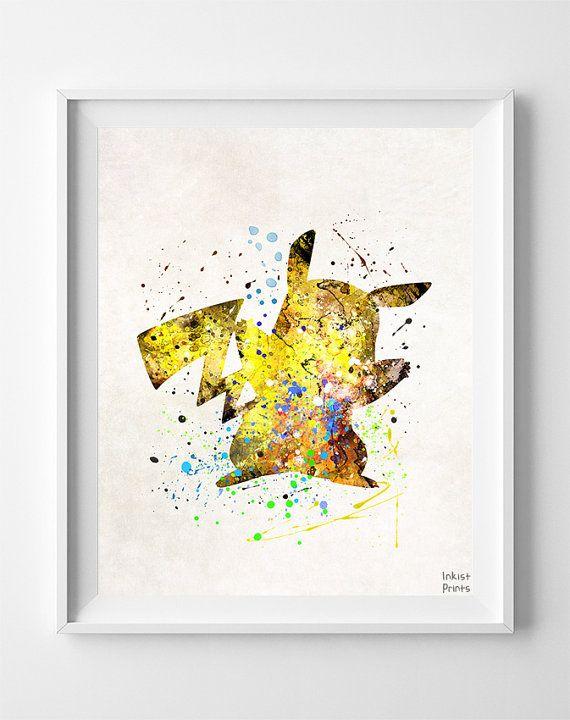 Pikachu Print, Watercolor, Pokemon Poster, Animation, Type 2, Baby ...