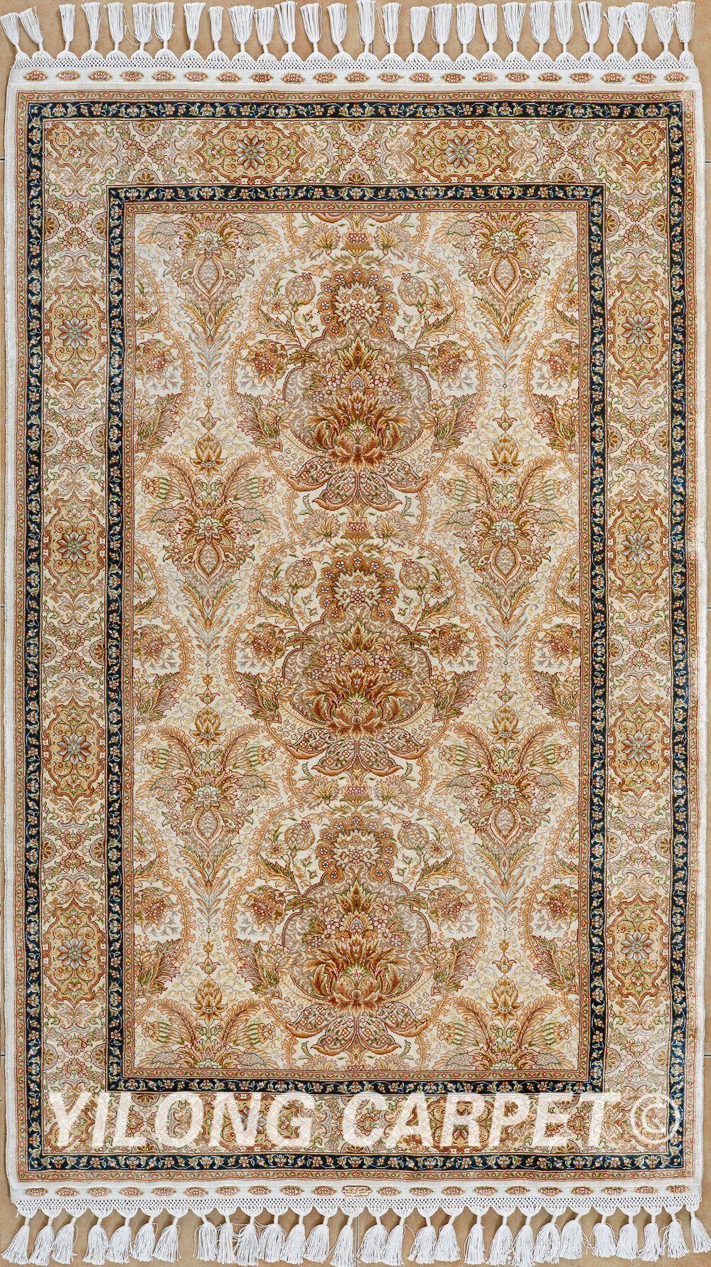 Yellow Persian Rugs Pure Silk Carpet Price Materials Silk Technology Hand Knotted Size 2 X3 14 X20 Design Silk Area Rugs Carpet Handmade Geometric Rug