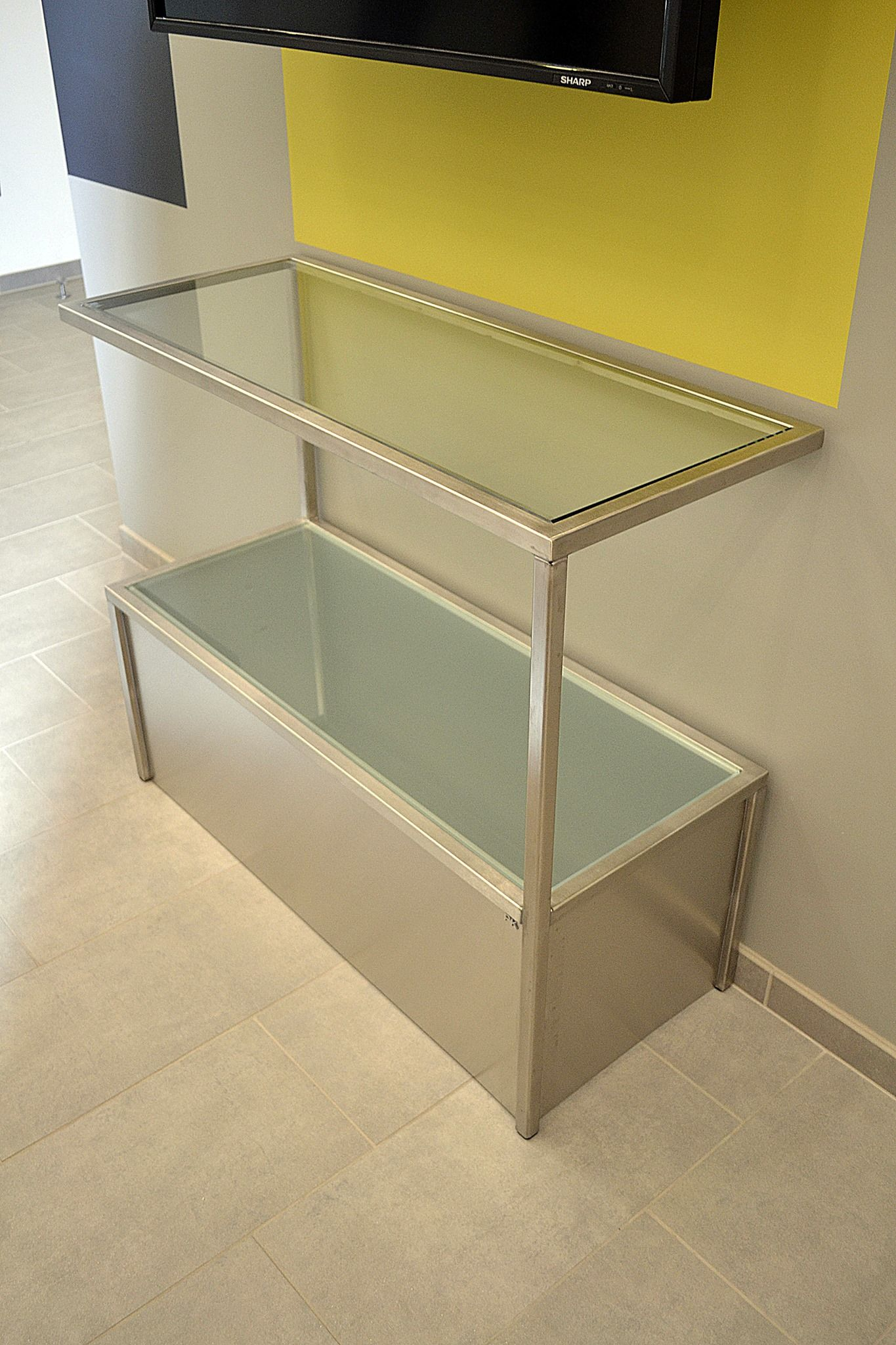 Zebra design stainless steel console table frosted glass bottom