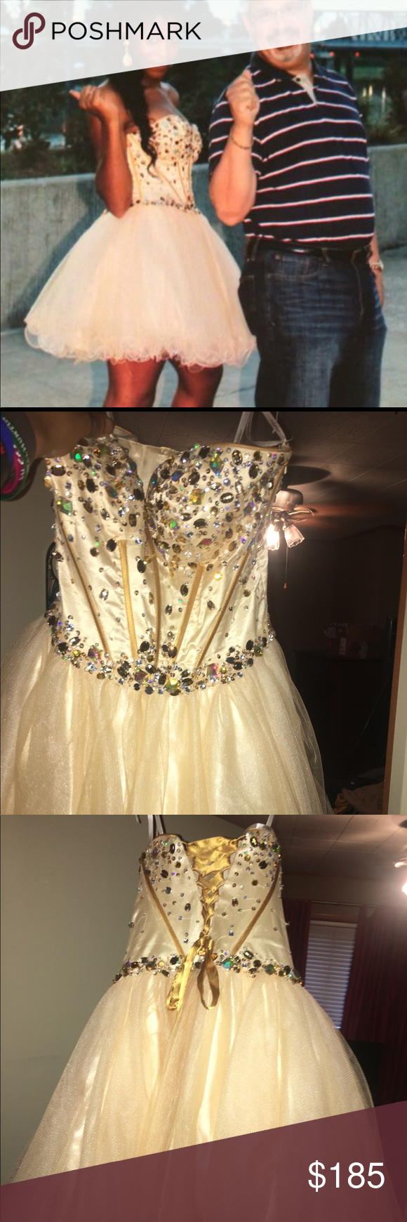 Gold prom dress gold bejeweled prom dress sherri hill size can be
