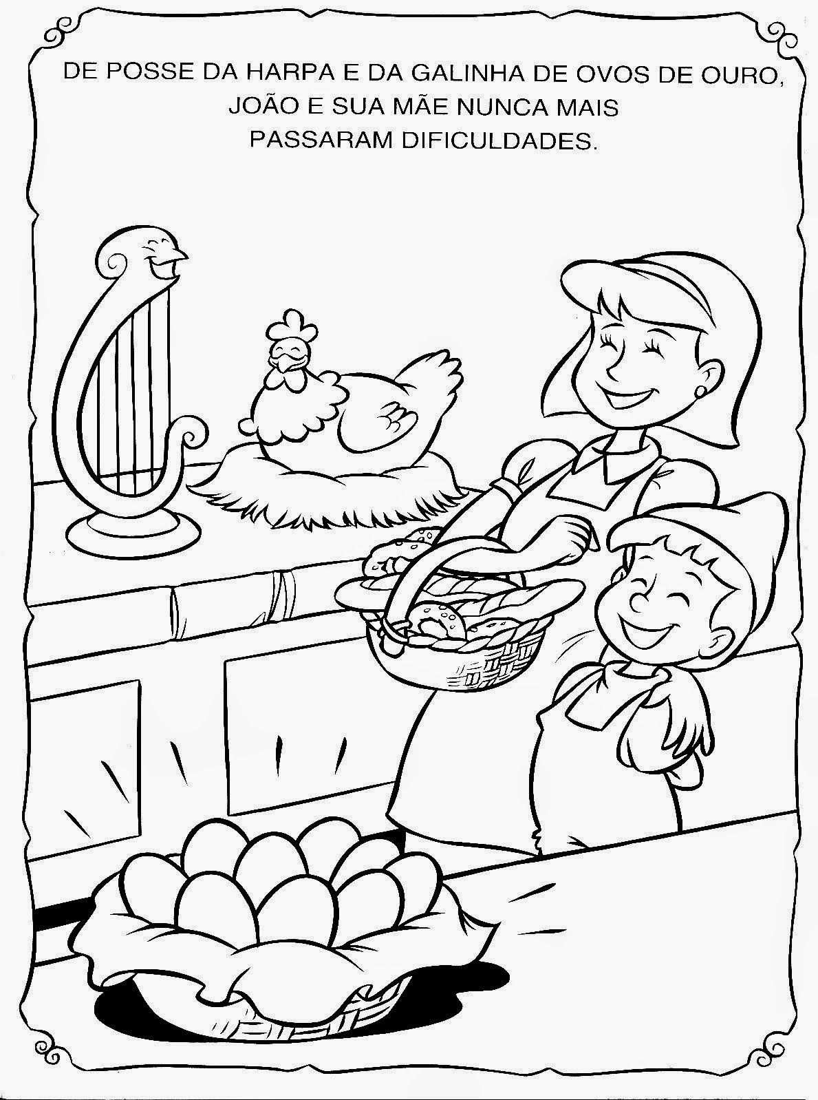 A Galinha Dos Ovo De Ouro Para Colorir companheiros da educação: joão e o pé de feijão para ler e