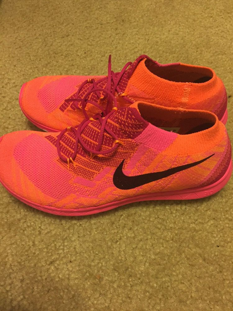 bfe0bf557fc6 Nike Free 3.0 Flyknit Orange Pink Womens Running Shoes size 9 718420-600  NICE!!