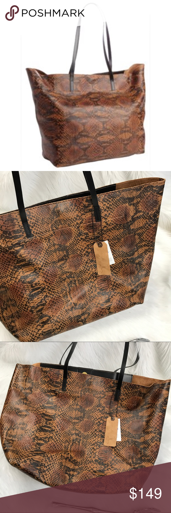 "Joie brown crocodile Sunday tote bag New With Tags .  Joie Antiqued Crocodile Embossed Leather And Goldtone Hardware Magnetic Snap Closure 24"" Shoulder Strap With 10½"" Drop Self Lined With Zip Leather Flap, Zip Pocket Measures Approximately 20½'' At Widest X 13'' Tall At Center X 7'' Deep Leather snake skin python croc animal print pattern   💙 please use the offer button  🛍 BUNDLE FOR 10% OFF •   🚭smoke free  🌟 5 star rating   www.thethugwife.com 💀 @thethugwifeboutique             🚫…"