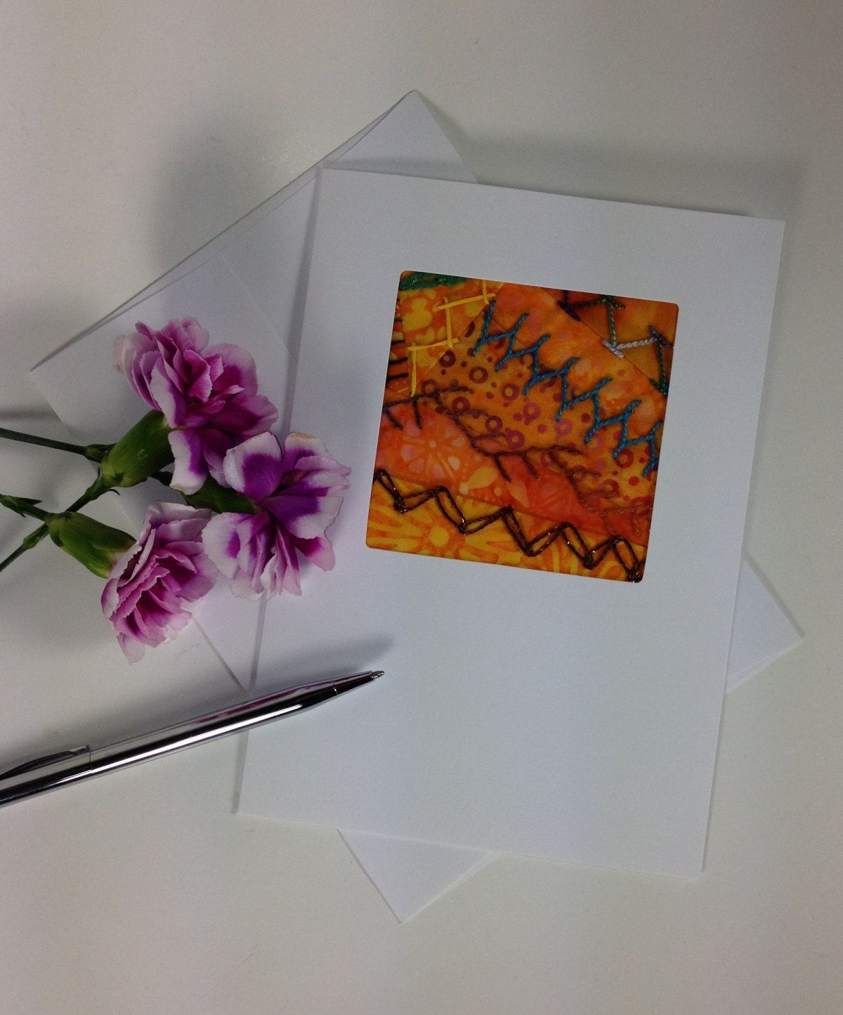 Hand embroidered greeting card crazy quilt greeting card fiber hand embroidered greeting card crazy quilt greeting card fiber art fabric greeting card orange batik fabric card handmade card birthday kristyandbryce Image collections