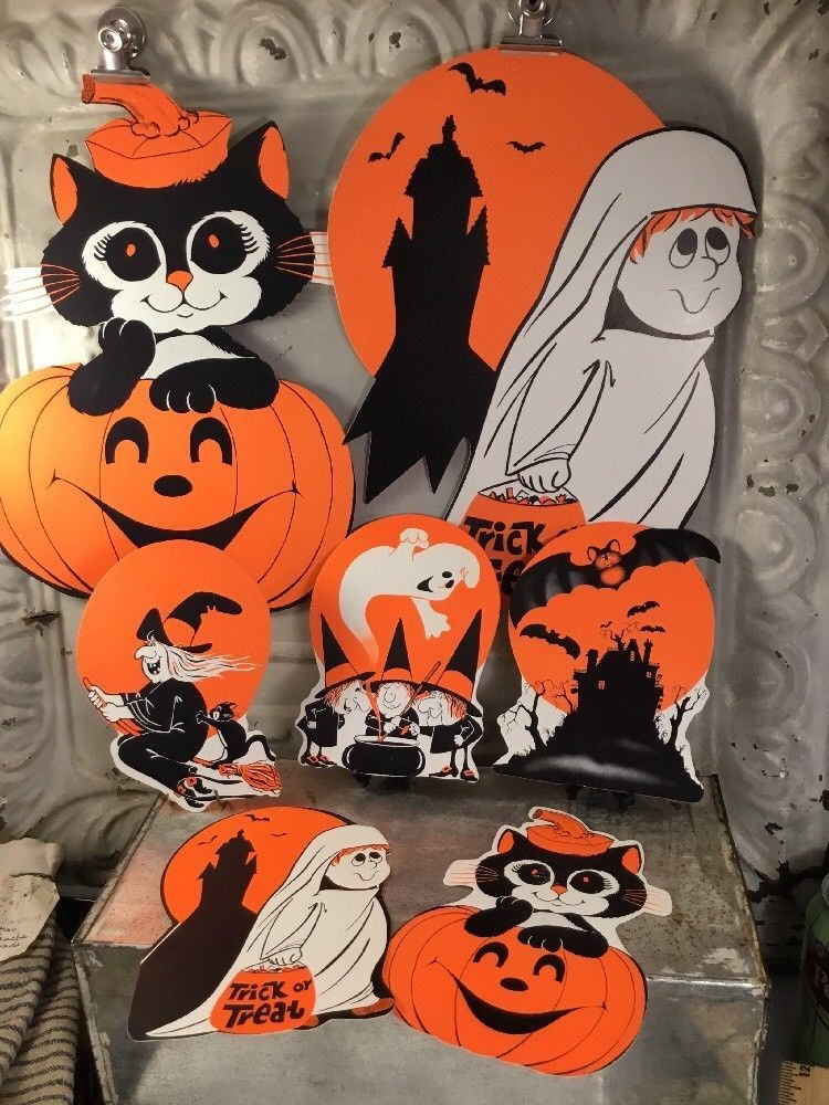vintage halloween decoration die cut peck witch ghost cat bat 1970s classroom ebay