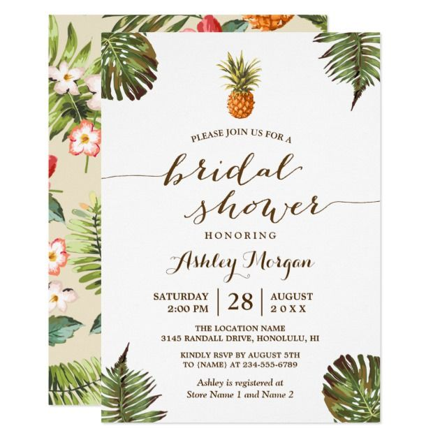 Luau Tropical Leaves Pineapple Bridal Shower Invitation Shower - best of invitation name designs