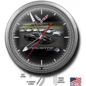 Seven Generations Of Corvette Neon Wall Clock Clock Neon Clock Corvette