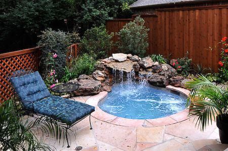 Pin By Connie Ireland On Small Pools In 2020 Small Backyard Pools Backyard Hot Tub Outdoor
