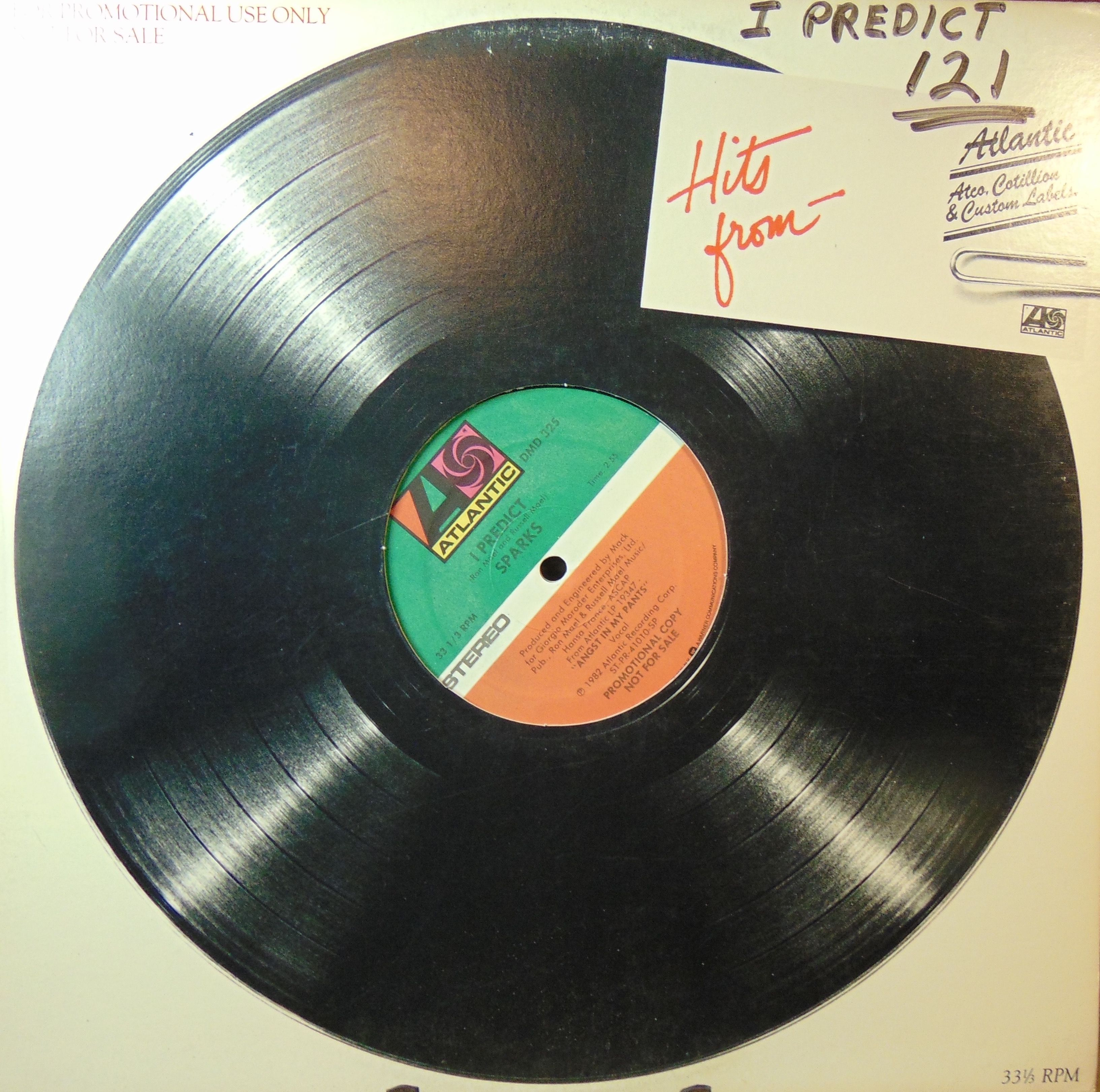 Sparks I Predict Atlantic Records 12 Vinyl Single 1982 Promo In 2020 Vinyl Records Atlantic Records Records