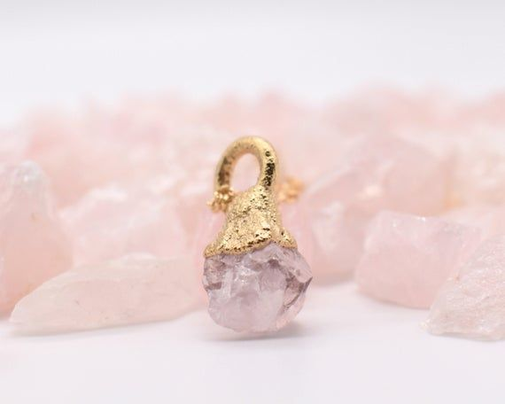 Gold Quartz Necklace, Organic Gold Jewelry, Raw Gold Jewelry, Rose Quartz Necklace, Pink Quartz Neck