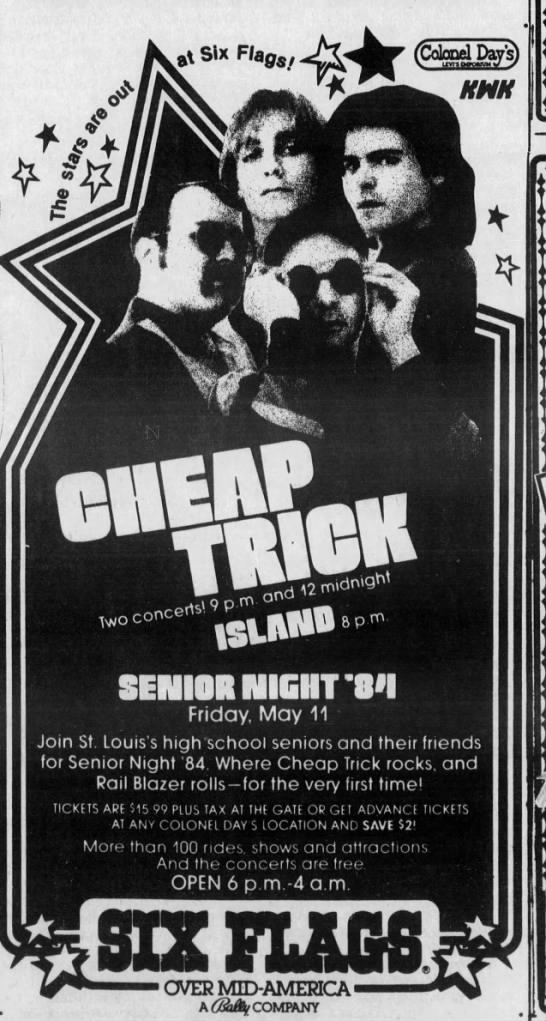 Cheap Trick At Six Flags Senior Night 1984 Vintage Concert Posters Music Book Senior Night