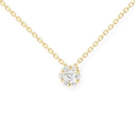 Collar NICOL´S. Collar con motivo central en forma rosetón con 7 diamantes  y cadena articulada de 40cm de largo más 2cm de extensión, con tres anillas de ajuste. Fabricada en oro amarillo de 18kt y diamantes talla brillante peso total  D0.09ct.