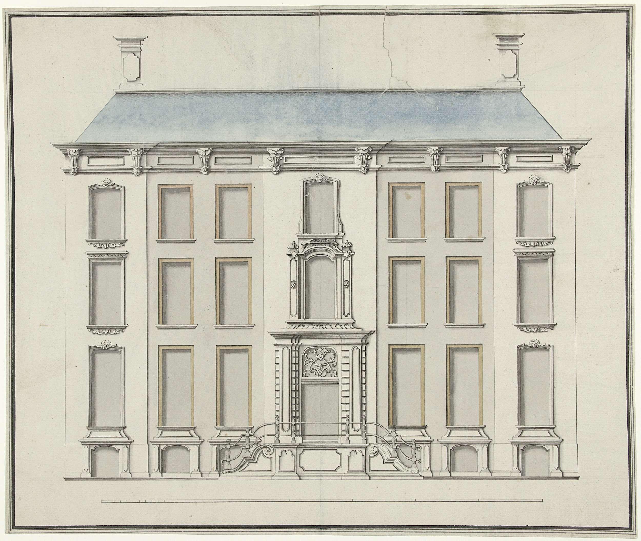Joseph Massol | Voornaam woonhuis met hoge stoep, Joseph Massol, 1752 - 1767 | Afbeelding van het Zeeuws Museum, Wagenaarstraat E 285 te Middelburg.