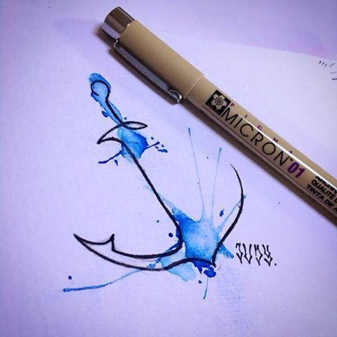 Watercolor Anchor Tattoo Desenhos Para Tatuagem Feminina Tatoo