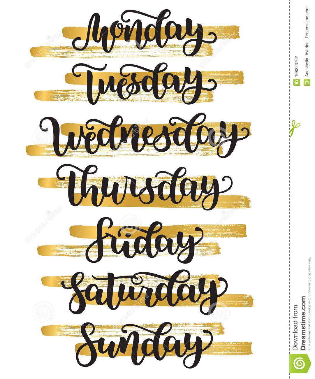 Lettering Days Of Week Sunday Monday Tuesday Wednesday