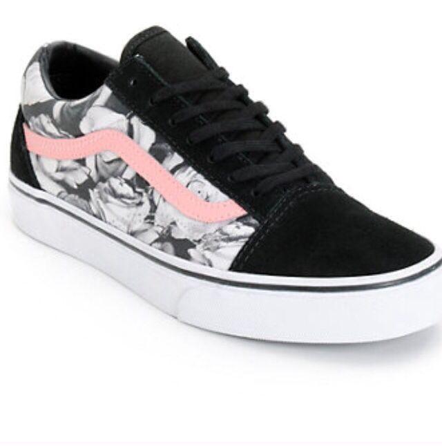 Vans Old Skool Girls Skate Shoes Multi FloralBlackTrue