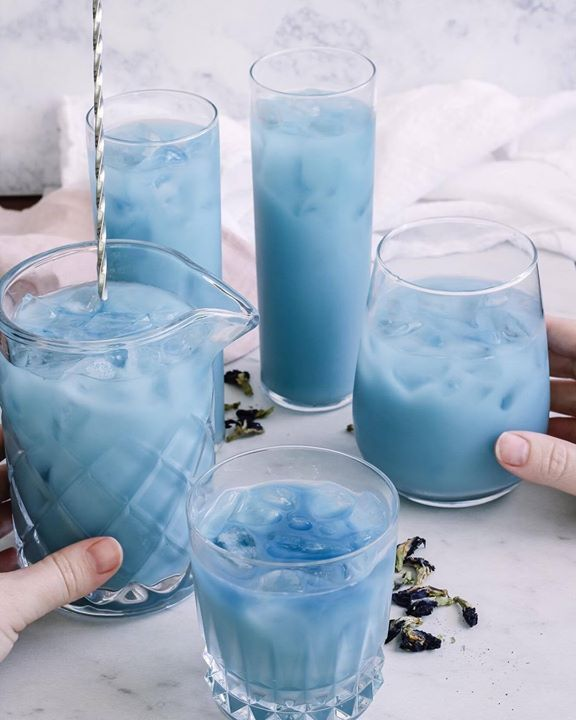 Iced Blue Tea Latte Made With @bluechai Butterfly Pea