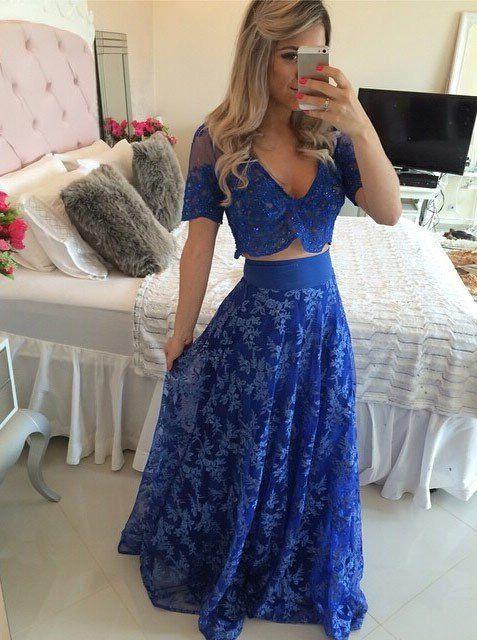 0f55b2bfc65 Elegant A-line V-neck 2 piece Lace Short Sleeves Appliques Royal Blue