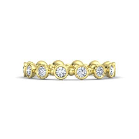 14K Yellow Gold Ring with Diamond   Seed & Pod Eternity Band   Gemvara