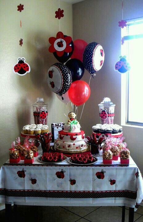 chocolates galore ladybug baby shower theme dessert table