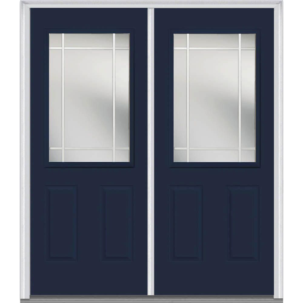 Mmi Door 64 In X 80 In Prairie Internal Muntins Left Hand Inswing 1 2 Lite Clear 2 Panel Painted Steel Prehung Front Door Z012160l Double Doors Exterior Exterior Doors Paint Steel Door