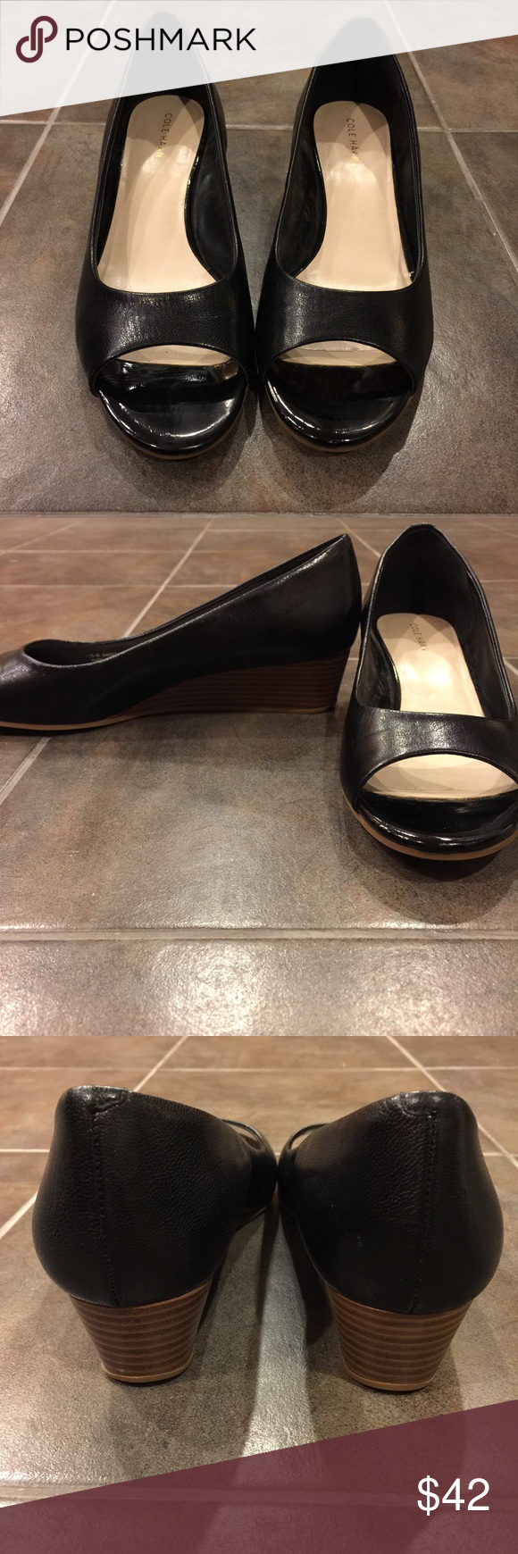 768bcff3a56b COLE HAAN Black Leather Peep Toe Wood Finish Wedge New without Tags! These  adorable and