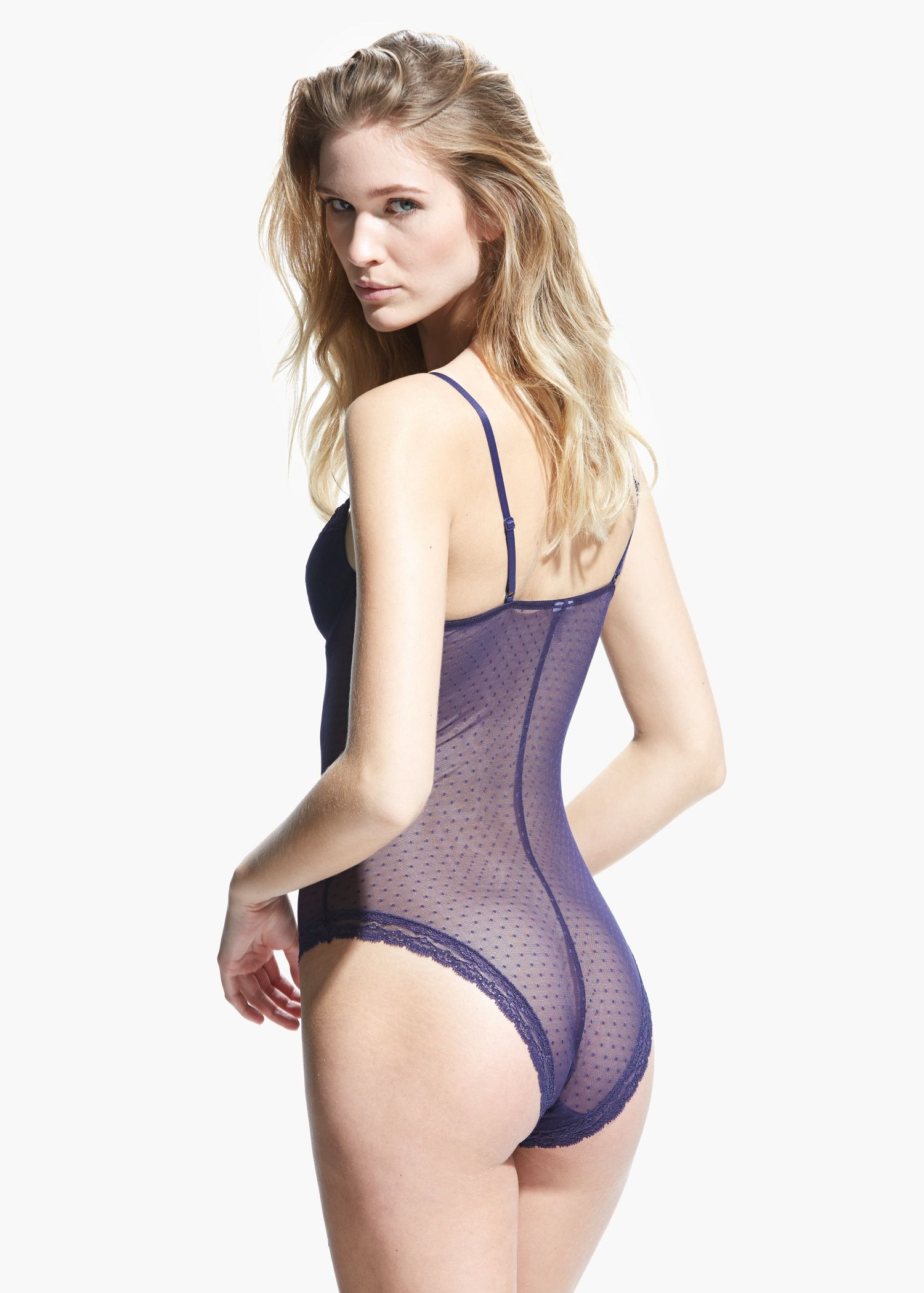 652964265c0b93 Polka-dot lace bodysuit - Intimates for Women
