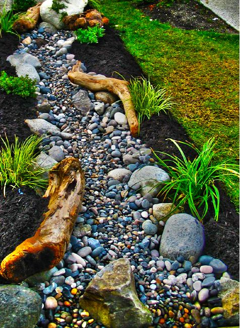Drift Wood Dry Creek Bed Very Northwest Landscaping 640 x 480