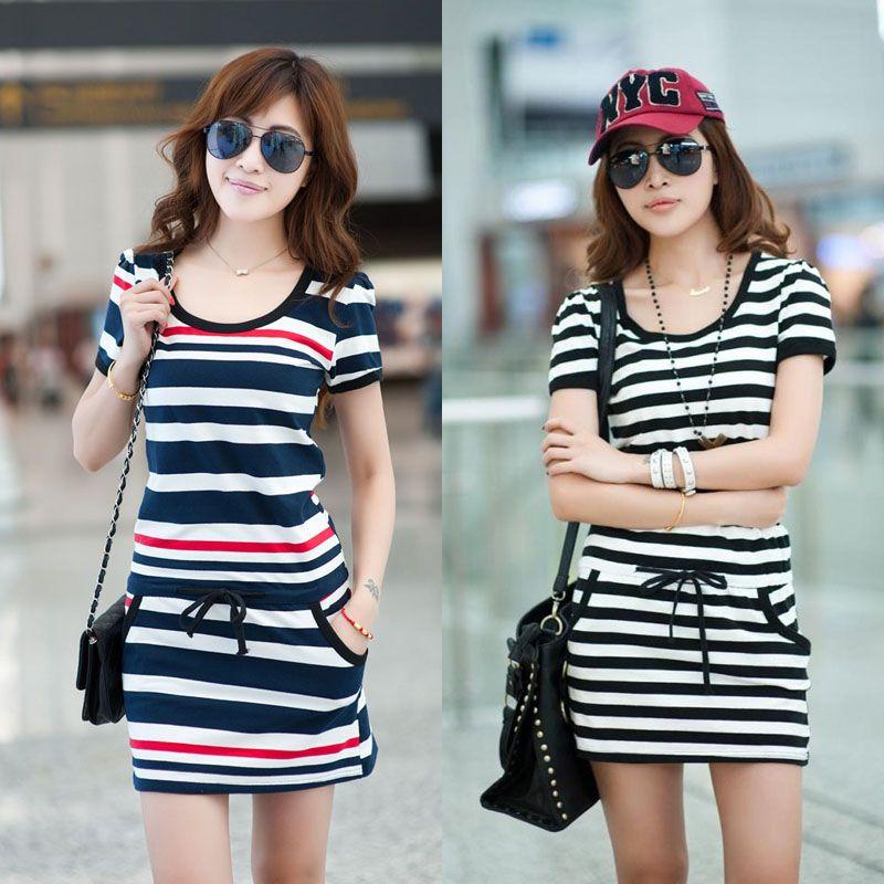 2013 New Fashion Sale The Navy Tunic Knee Length Plus Size Stripes