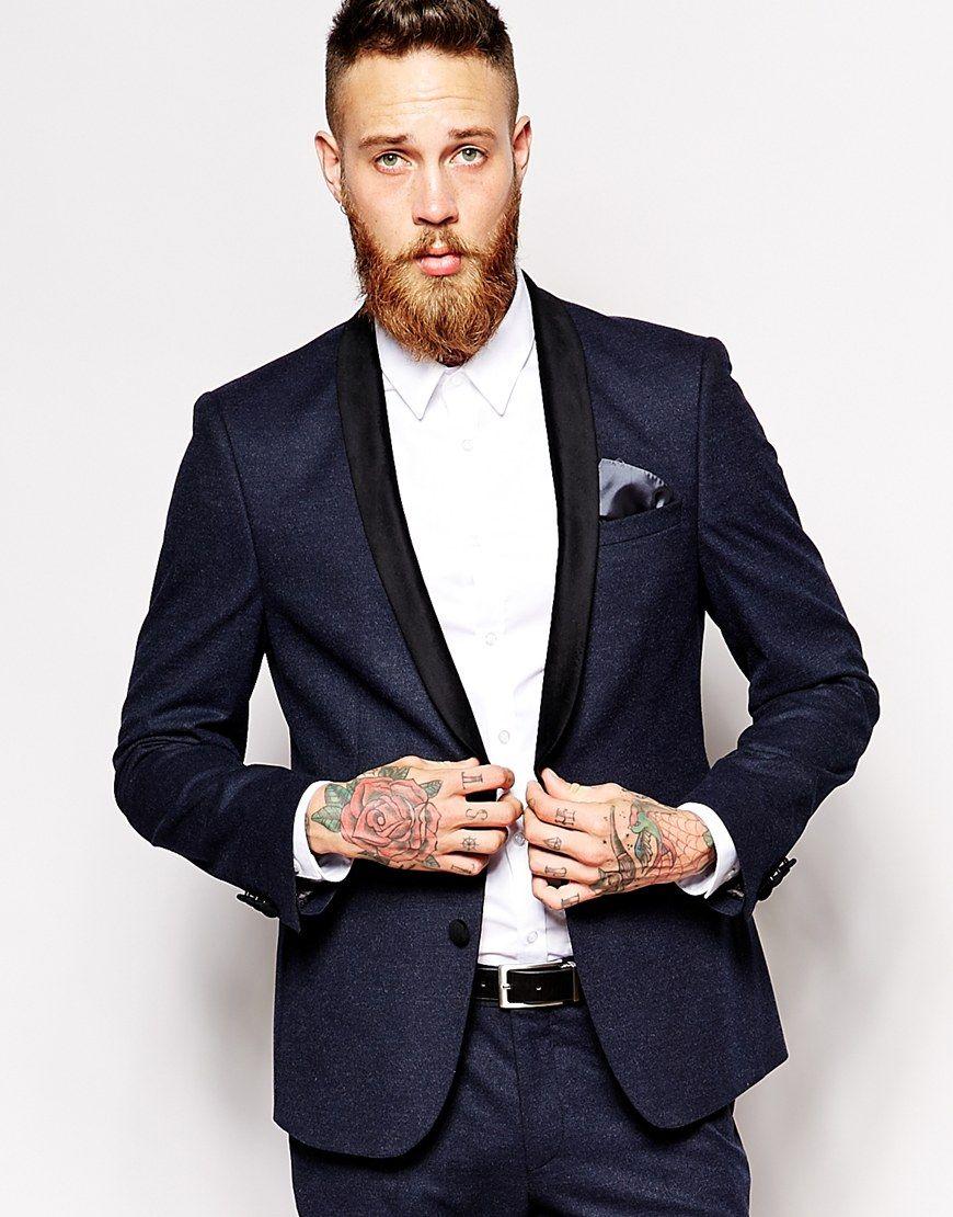 ASOS Skinny Fit Suit Jacket With Velvet Trim $153 | Men's Fashion ...
