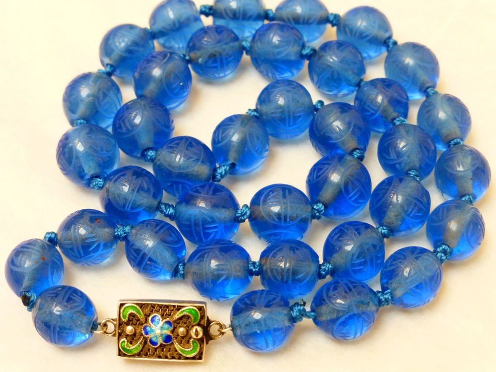 Chinese Antique Carved Shu Blue Peking Glass Bead Necklace Silver Clasp Glass Bead Necklace Antique Turquoise Asian Jewelry