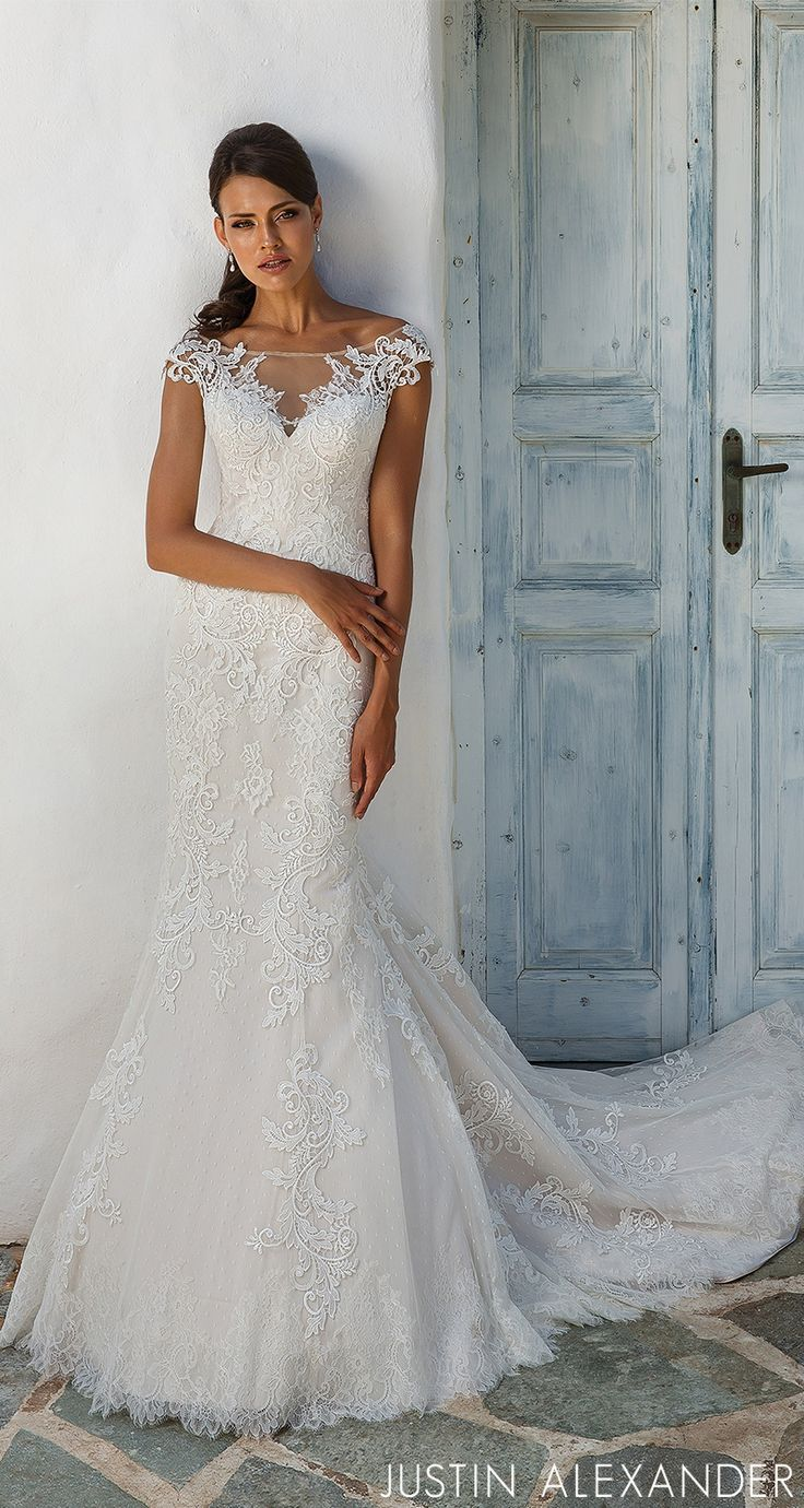 Style timeless venice lace adorns this illusion sabrina