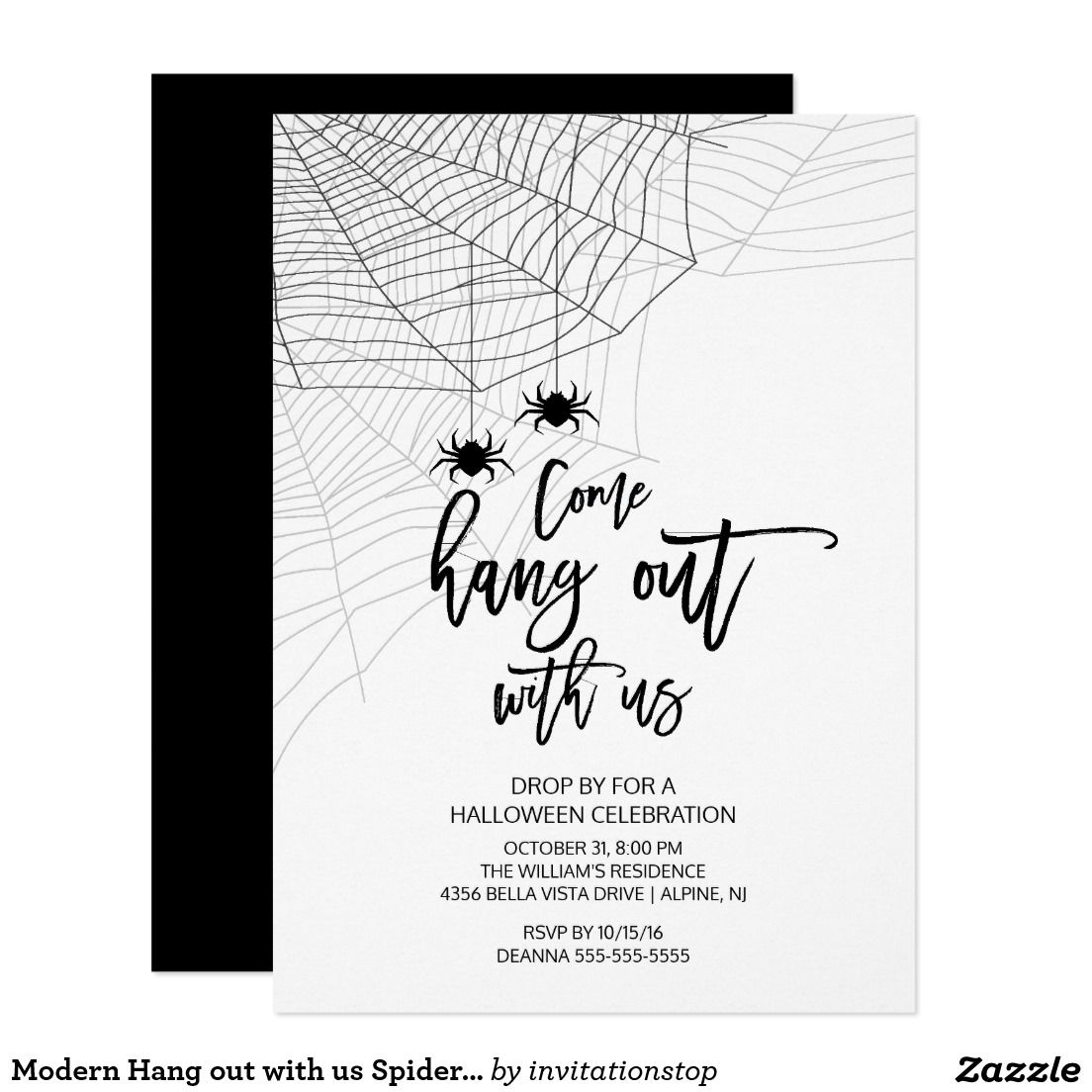 Modern Hang out with us Spider Halloween Party Card   Halloween ...