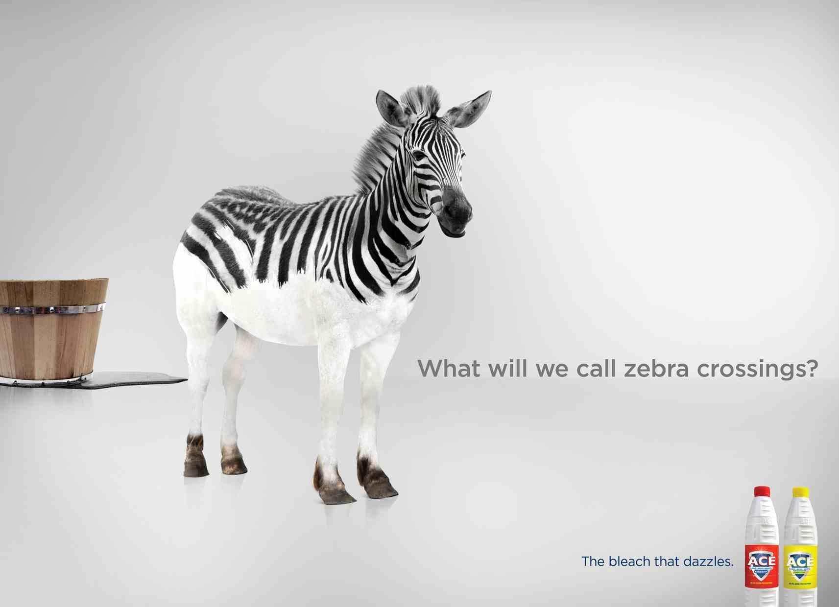 Reklamy Wybielaczy Sa Praktycznie Takie Same Ace Uznalo Ze Nie Warto Pokazywac Jak Dziala Ich Wybielacz Bo Dziala Tak Jak In Bleach Print Advertising Zebra