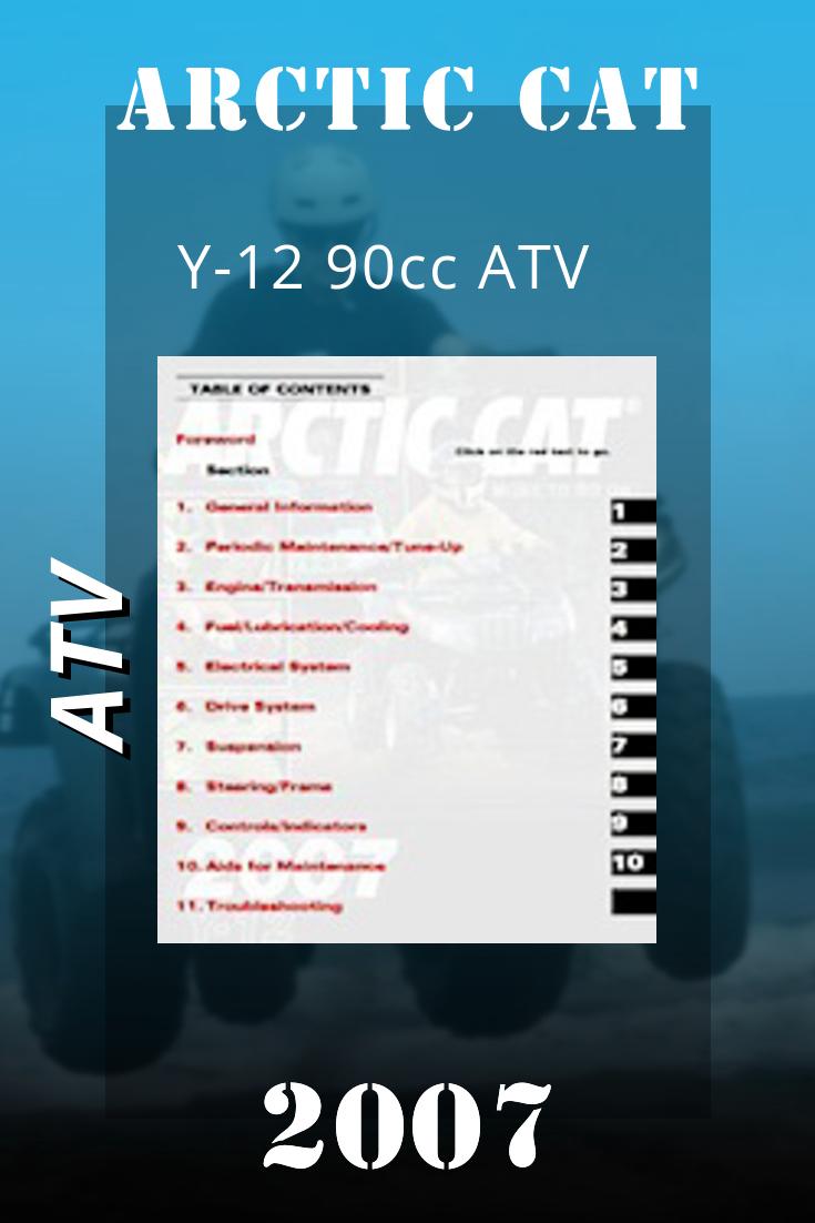 2007 Arctic Cat Y 12 90cc Atv Service Manual 90cc Atv Atv Arctic