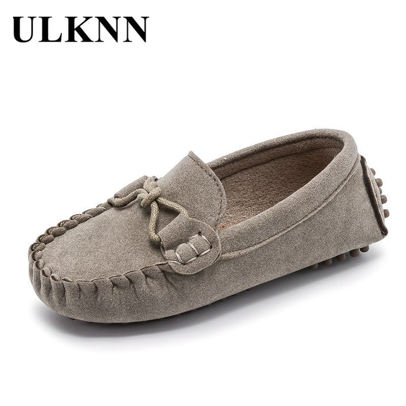 Kids Boys Girls Leather Slip On Flat Loafers Moccasins Casual Boat Shoes Size