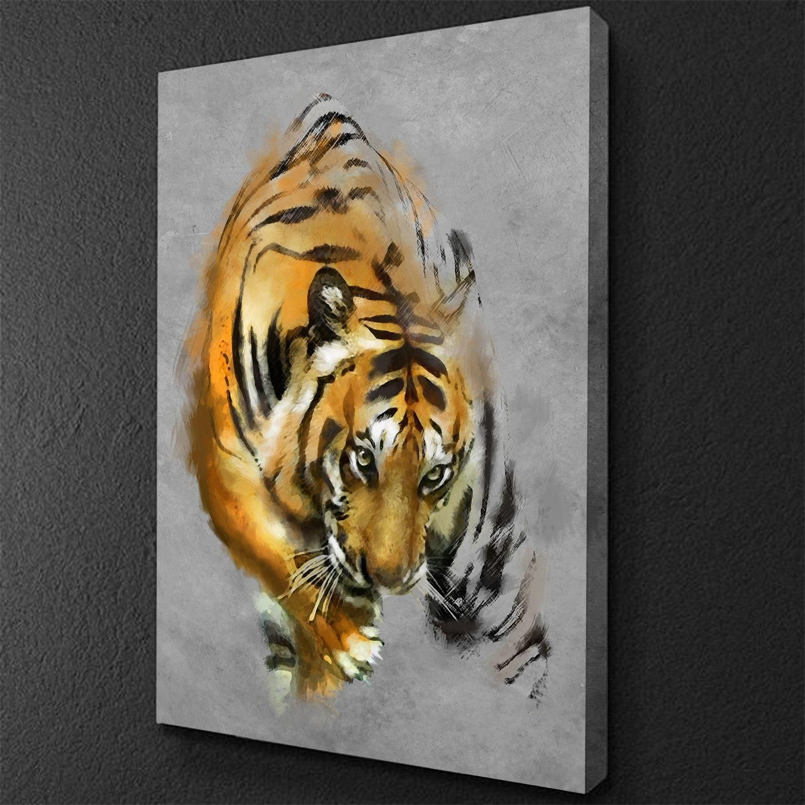 Crouching Tiger Painting Canvas Set In 2021 Tiger Painting Tiger Canvas Painting Tiger Canvas Art
