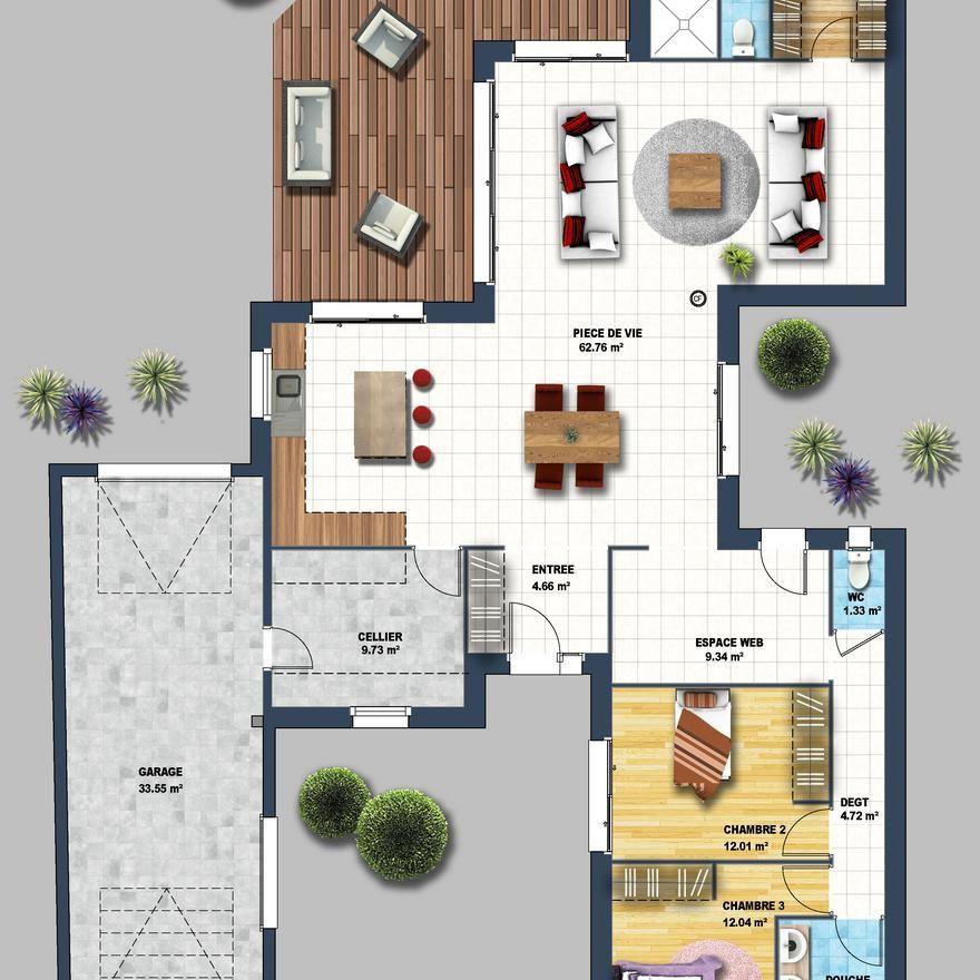 Une maison de plain-pied de 146 m² qui allie design contemporain et - jeux de construction de maison en 3d