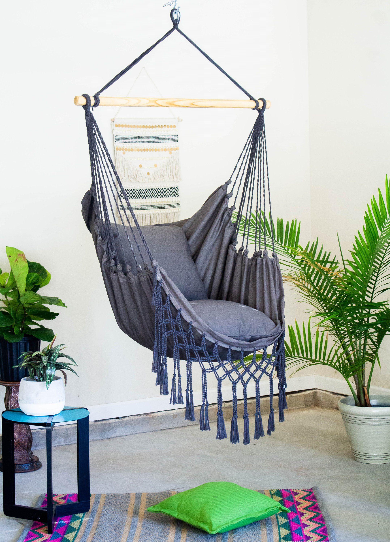 Gray Macrame Hammock Chair Boho Hammock Swing Chair Cotton Etsy