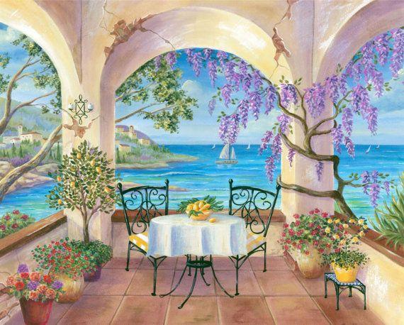 11x14 Print Ocean Balcony Ocean Paintings By Hamiltonartanddesign 20 00 Seaside Paintings Landscape Paintings Ocean Pictures