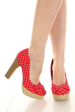 Red Fabric Upper Polka Dot Bow Chunky Heel Pumps