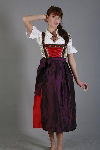 Langes Dirndl 3-tlg. rot gold Rosen mit passender Bluse und Schürze Gr. 34-50