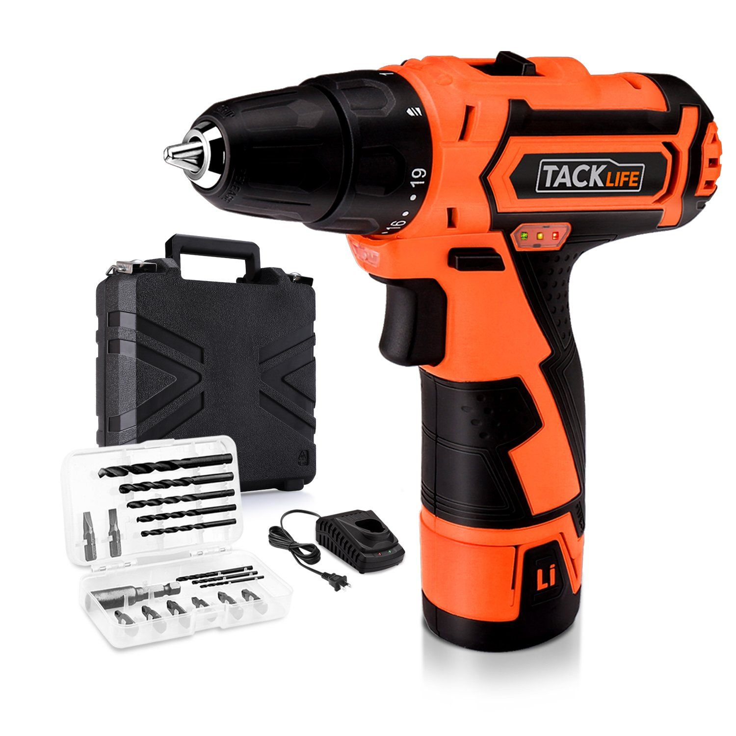 Tacklife Pcd02b 12v Lithium Ion Cordless Drill Driver Max Torque 25n M Variable Speed 19 1 Torque Setting With Led Drill Cordless Drill Cordless Drill Reviews