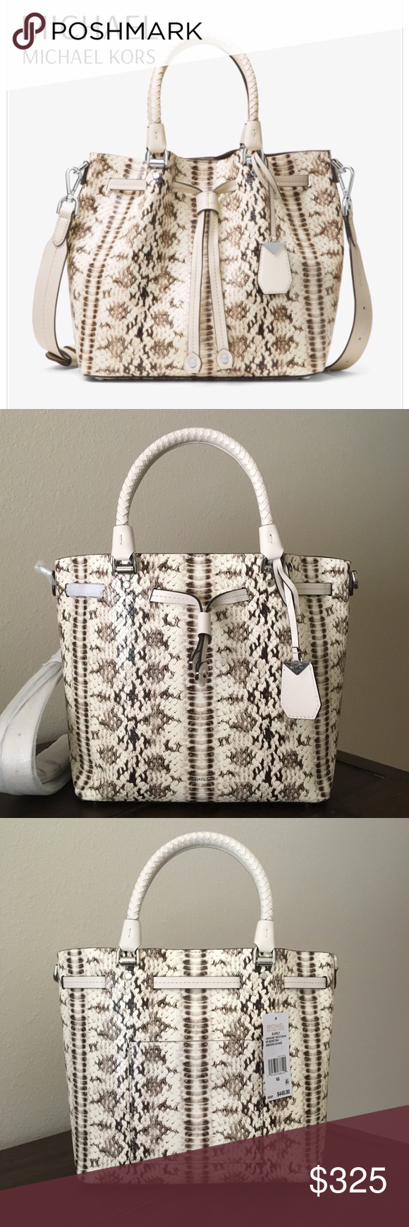 76764e098126d Michael Kors Blakely Medium Bucket Bag NWT. Gorgeous! The Blakely bucket bag  is crafted from snake-embossed leather with woven top handles.