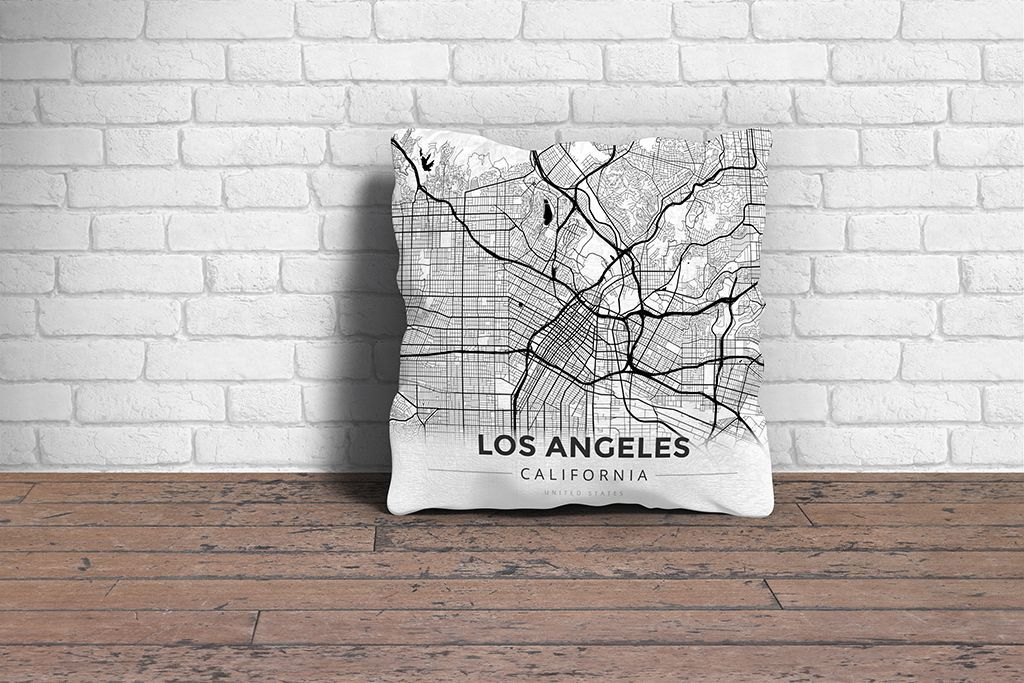 Map Throw Pillow of Los Angeles California